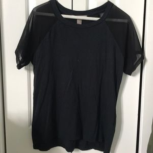 black tee with mesh shoulder detail